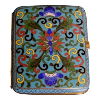 19th Century Russian Bronze Cloisonne Enamel Cigarette Case