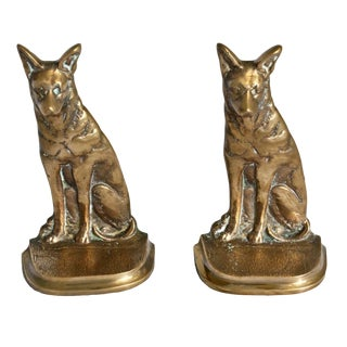 1920s Vintage Brass German Shepherd Bookends - A Pair For Sale