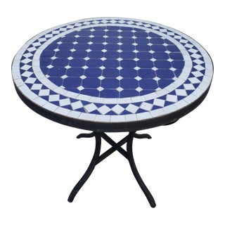 Moroccan Blue/White Mosaic Side Table For Sale