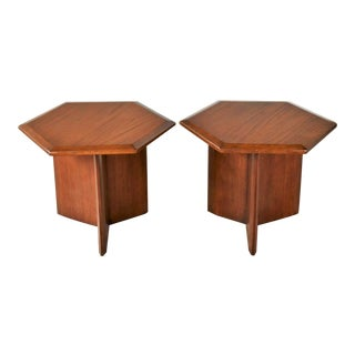 Pair Walnut Stained Hexagon Side Tables Style of Frank Lloyd Wright for Henredon For Sale