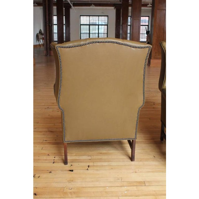 Peachy 1920S Vintage American Library Tufted Leather Wing Chair Spiritservingveterans Wood Chair Design Ideas Spiritservingveteransorg