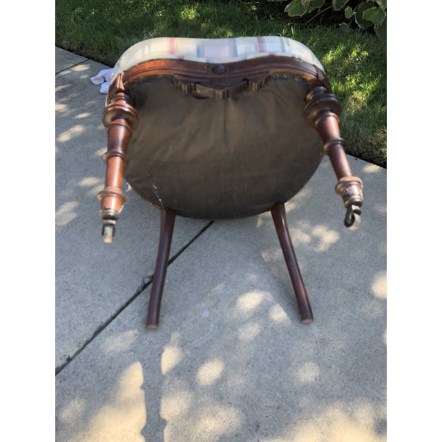 Antique Eastlake Plaid Upholstered Side Chair For Sale - Image 9 of 13
