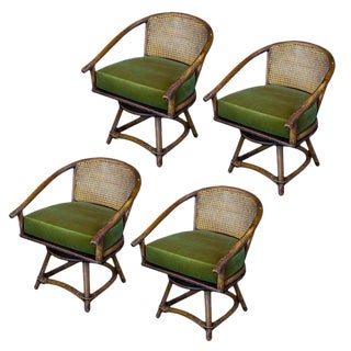 Set of Four Cane and Rattan Swivel Chairs, France, 1960s For Sale