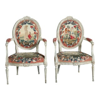 Fine Pair of Swedish Neoclassic Painted Armchairs For Sale