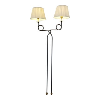 Vintage Hollywood Regency Brass and Metal Double Arm Floor Lamp For Sale