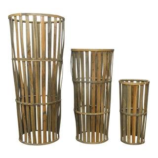 Tall Wooden Cellar Baskets-Set of 3