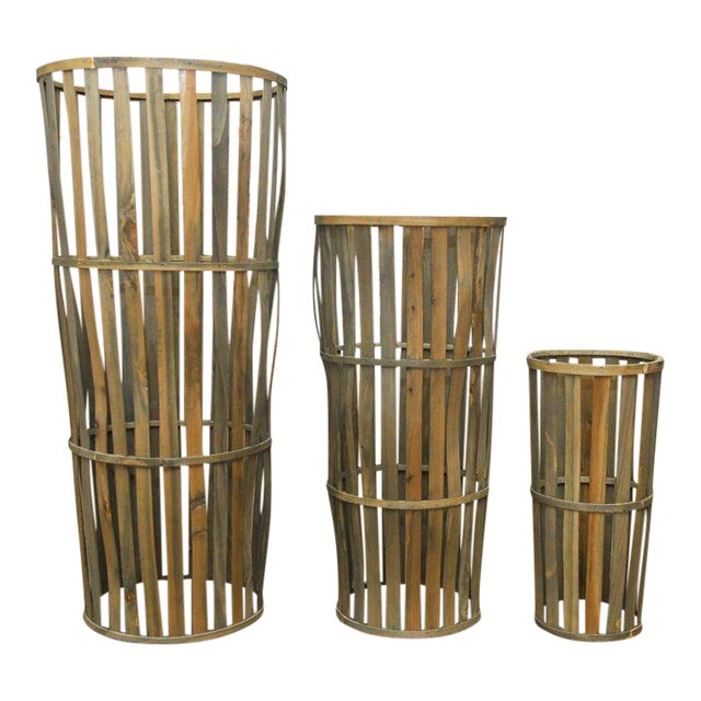 Tall Wooden Cellar Baskets-Set of 3 For Sale
