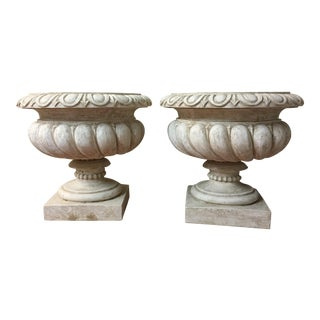 Italian Style Solid Stone Urns - a Pair For Sale