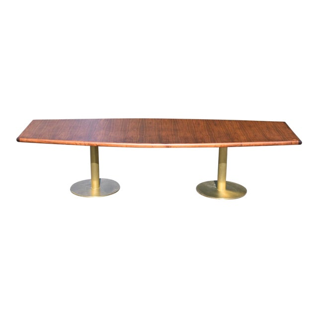 Mid-Century Modern Walnut & Brass Conference Table For Sale