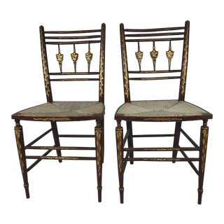 19th Century Folk Art Gold Decorated Side Chairs - a Pair For Sale