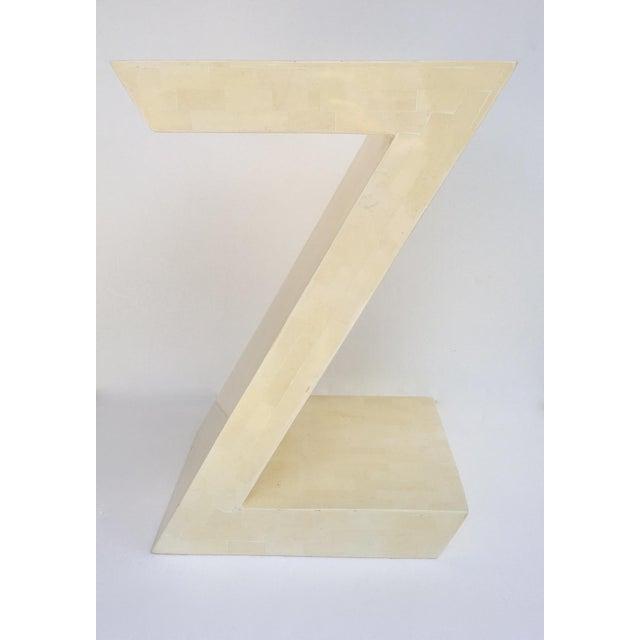 """Karl Springer Karl Springer Attr. Inlaid Bone Tessellated """"Zig-Zag"""" Side/End Table For Sale - Image 4 of 13"""