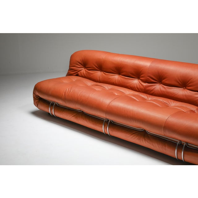 1970s Cassina Soriana Cognac Leather Sofa by Afra and Tobia Scarpa For Sale - Image 9 of 11