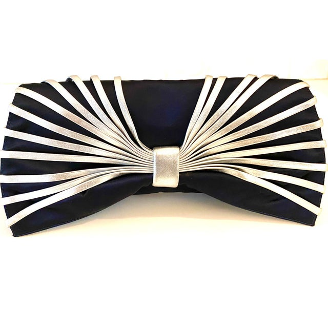 Rodo Navy Silk Clutch With Metallic Silver Leather Detail For Sale - Image 10 of 10