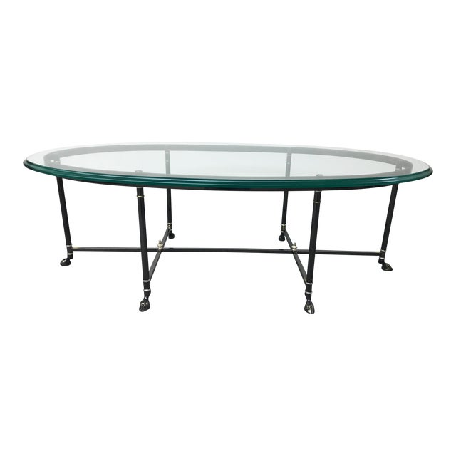 Ebonized Brass & Brass Oval Beveled Glass La Barge Hooved Coffee Table For Sale