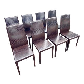 Contemporary Cattelan Italia Stamped Crocodile Dining Chairs - Set of 8 For Sale