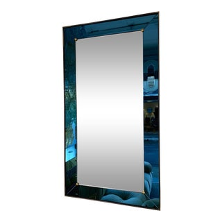 Mirror Blue and Brass by Cristal Art. Italy, 1960s For Sale