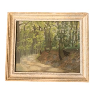 Vintage French Naive Watercolor of Trees & Path