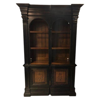 1980s American Classical Two-Piece Bookcase Cabinet For Sale