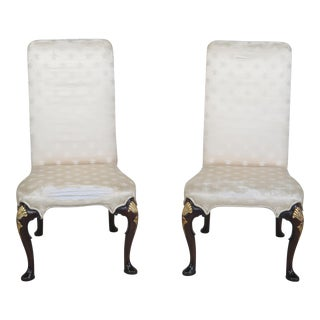 Kittinger Cw-67 Colonial Williamsburg Upholstered Mahogany Chairs - a Pair