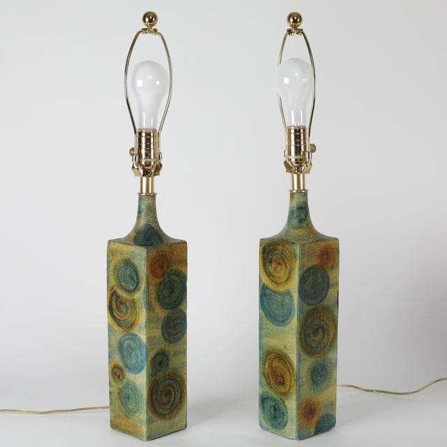 Abstract Expressionism 1960's Vintage Marcello Fantoni Ceramic Table Lamps- A Pair For Sale - Image 3 of 13