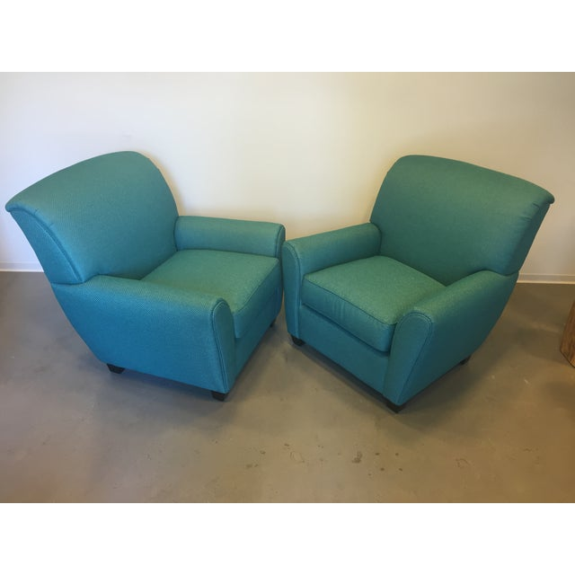 Turquoise Club Chairs - A Pair - Image 3 of 9