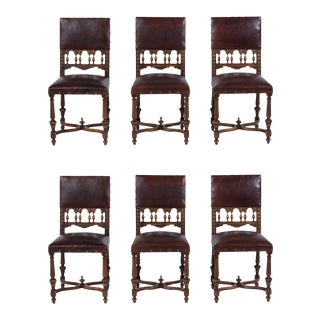 Six French Patina Leather Dining Chairs For Sale