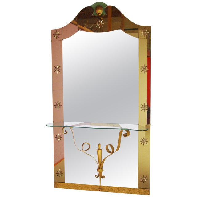 Italian Mirror With Console by Pier Luigi Colli For Sale