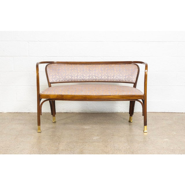 Jacob & Josef Kohn Antique Vienna Secessionist Gustav Siegel 715 for Kohn Loveseat Bench For Sale - Image 4 of 11