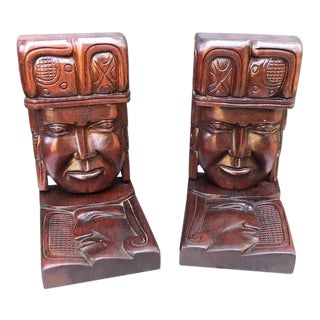 Tribal Carved Wood Bookends - a Pair For Sale