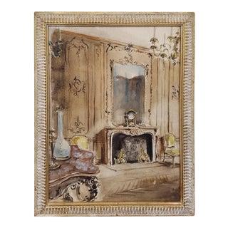 French Watercolor Interior Scene, circa 1930s For Sale