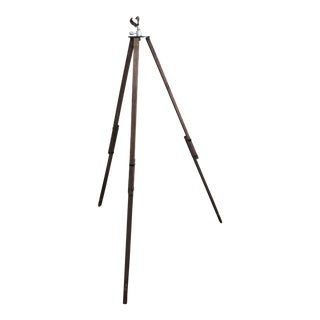 Vintage Industrial Collapsible Wood Tripod