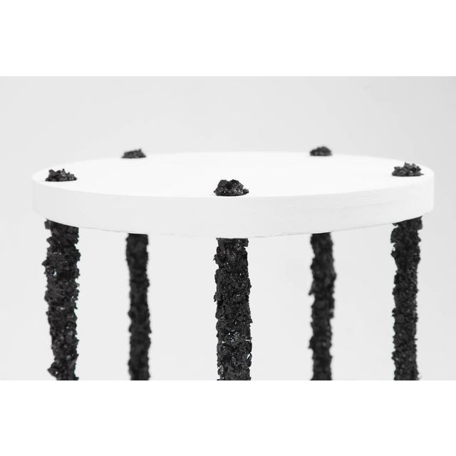 Contemporary Hand Made Side Table of Black Tourmaline and White Plaster, by Samuel Amoia For Sale - Image 3 of 5