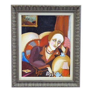 Sita Gomez De Kanelba Oil on Board of Dame Edith Sitwell 1976 For Sale