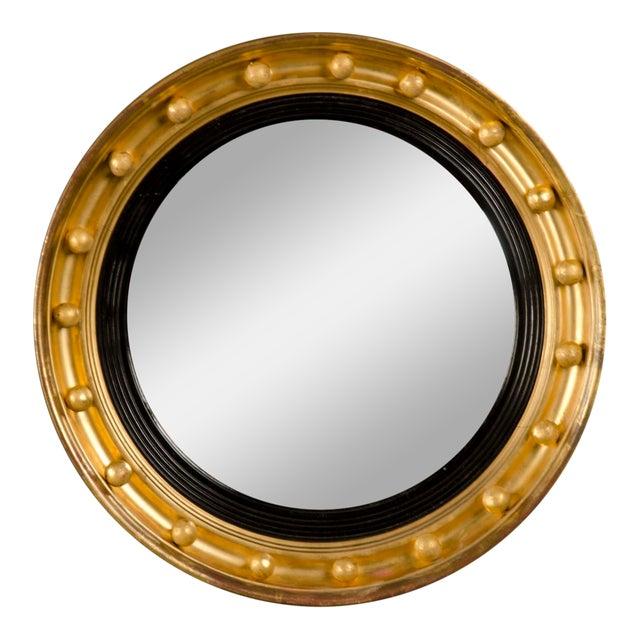 Antique English Regency Perios Gold Leaf Convex Mirror circa 1825 For Sale