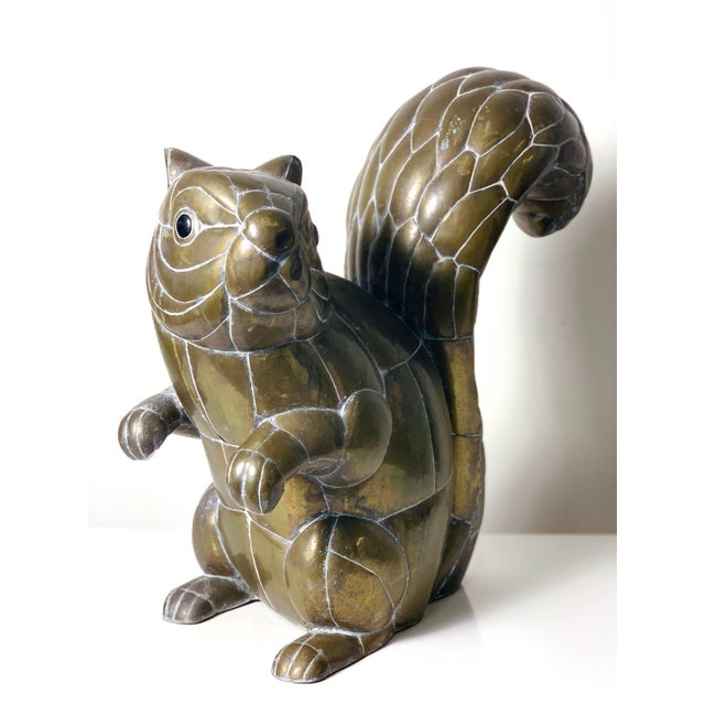 Large Signed Sergio Bustamante Brass Squirrel Sculpture, 1970's For Sale - Image 10 of 10