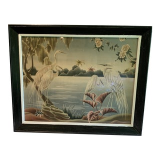 Vintage Mid-Century Turner Retro Airbrush Egrets Painting For Sale