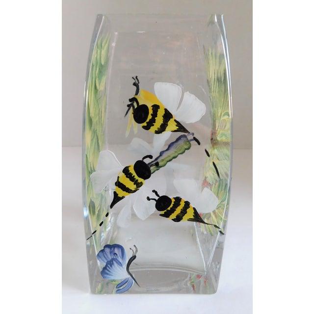 Black Hand-Painted Vintage Flora & Fauna Glass Vase For Sale - Image 8 of 12