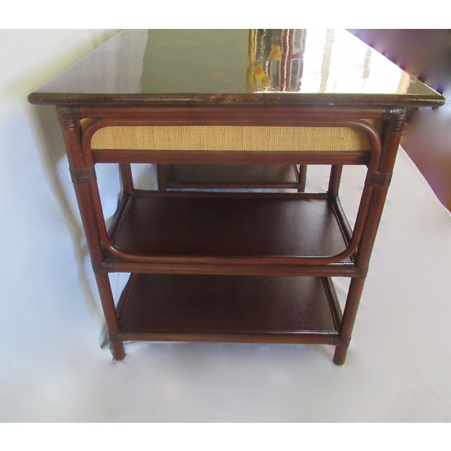 1970s British Colonial-Style Rattan Tobacco Leaf Top Writing Desk For Sale - Image 9 of 13