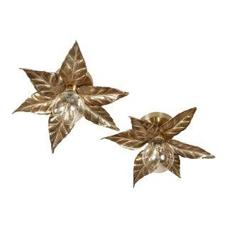 1960s Gold Floral Sconces - a Pair For Sale