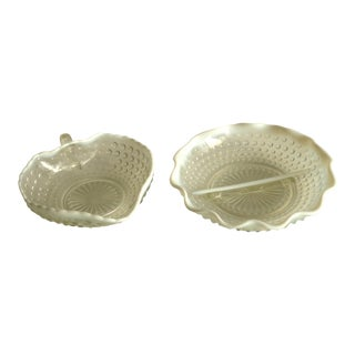Vintage Opalescent Hobnail Candy Dishes- Set of 2 For Sale
