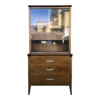 Mid Century Modern Two Piece China Cabinet From Profile by Drexel For Sale