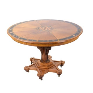 20th Century Gothic Revival Inlaid Stenciled Round Dining Table For Sale