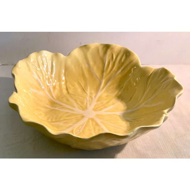 20th Century Cottage Majolica Yellow Cabbage Serving Bowl For Sale - Image 4 of 8