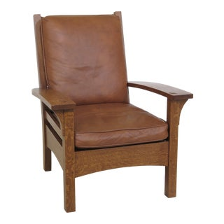 1990s Vintage Stickley Mission Oak Arts & Crafts Leather Lounge Chair For Sale