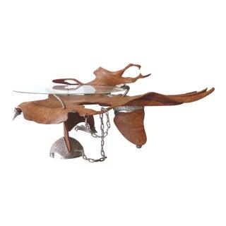 Fantasy Furniture Burl & Chrome Studio Coffee Table, Figurative Eagle & Serpent For Sale
