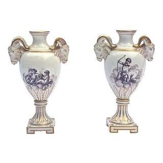 Antique Ram's Head & Cherub Vases - A Pair For Sale