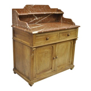 1900s French Victorian Marble Top Wooden Bathroom Commode For Sale