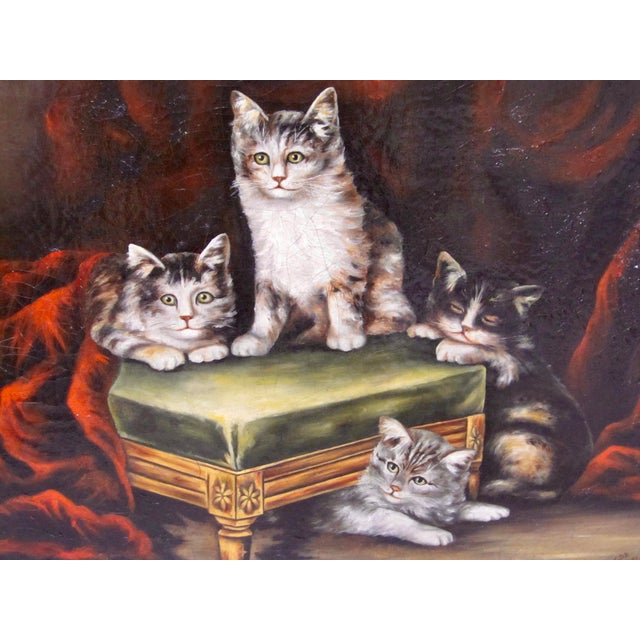 Late 19th Century Late 19th Century Antique Henriette Ronner Style Signed Kitten Oil Painting For Sale - Image 5 of 11