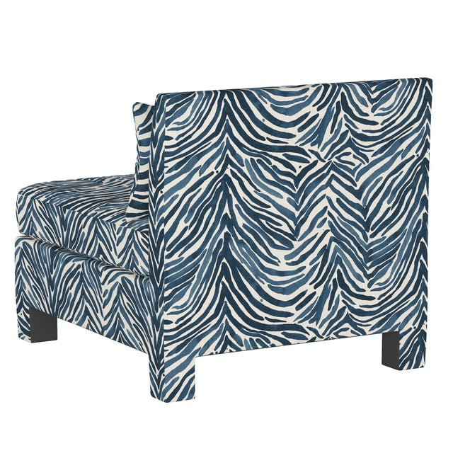 Armless Chair, Washed Zebra Blue For Sale - Image 4 of 8