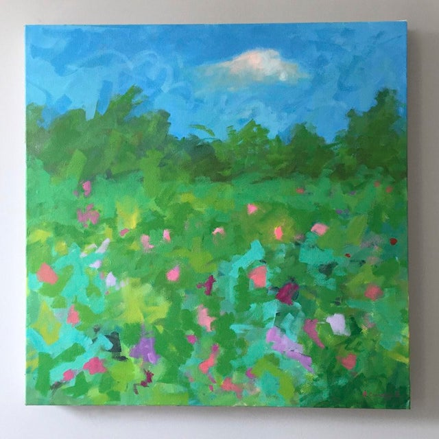A dreamy, romantic pop of color. A vibrant, abstract painting inspired by Claude Monet's beautiful garden in Giverny....